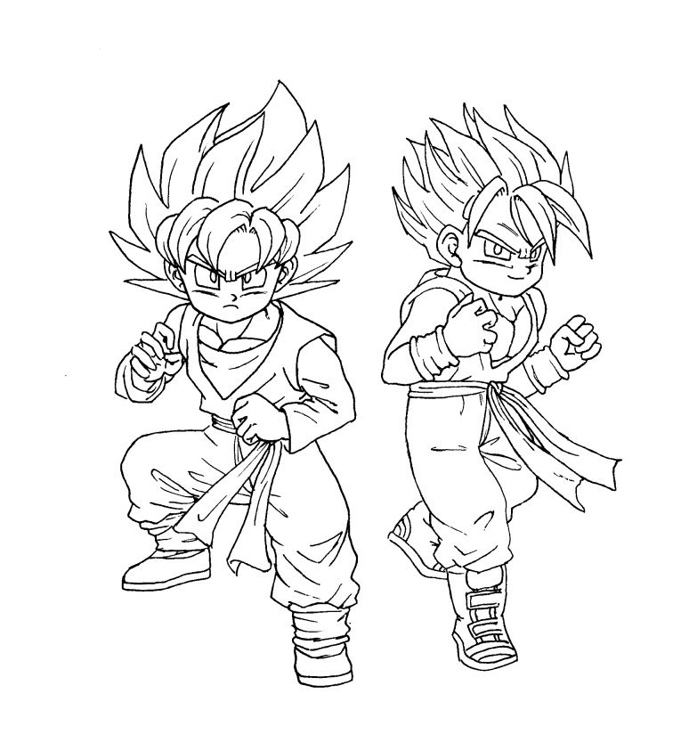 Trunks Y Goten Coloring Pages